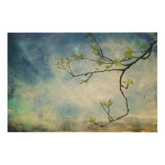 Tree Branch Over Textured Sky Wood Print