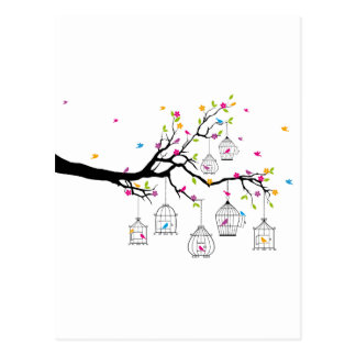 tree branch with birds and birdcages postcard