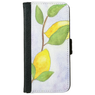 Tree Branch with Lemons and Leaves in Watercolor iPhone 6 Wallet Case