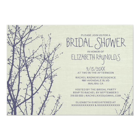 Tree Branches Bridal Shower Invitations