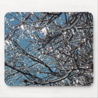 Tree branches covered in ice mouse mat
