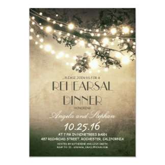 tree branches & string lights rehearsal dinner 13 cm x 18 cm invitation card