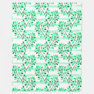 Tree branches with leaves fleece blanket