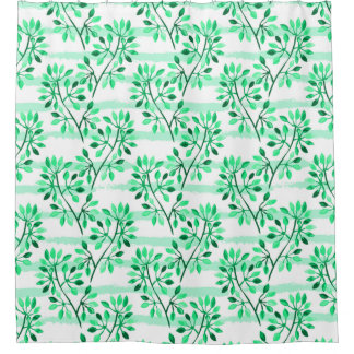 Tree branches with leaves shower curtain