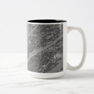Tree By Nightfall with birds nesting 1a Two-Tone Coffee Mug