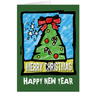 Tree Card Merry Christmas and Happy New Year