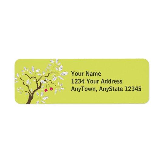 Tree ~ Cherry Tree White Leaf Return Address Label