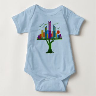 Tree City Colorful Architecture Baby Bodysuit