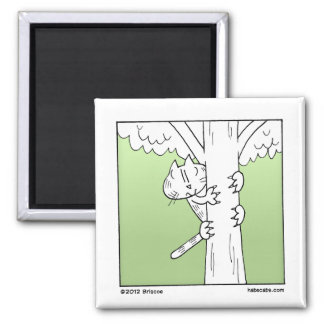 Tree Climbing Cat Square Magnet