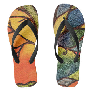 Tree Colourful Stained Glass Effect Flip Flops