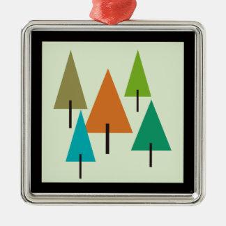 Tree Contemporary Art Silver-Colored Square Decoration