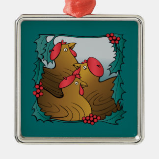Tree French Hens Christmas Ornament