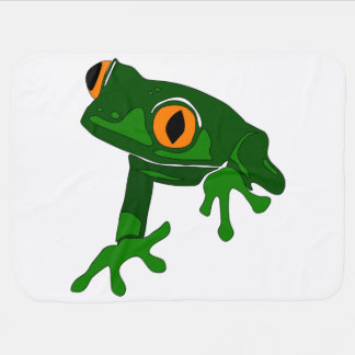 tree frog baby blanket - green and white