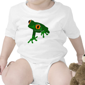 tree frog baby romper - green and white