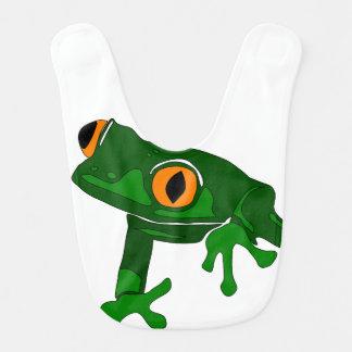 tree frog bib - green and white