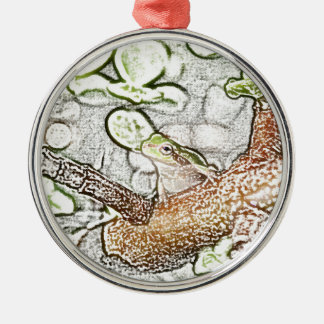 tree frog in bonsai colored pencil animal drawing ornament