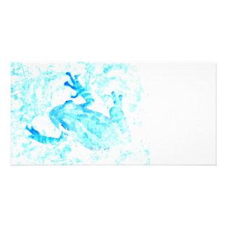 tree frog invert blue white moss animal design custom photo card