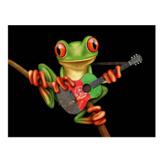 Tree Frog Playing Afghan Flag Guitar Black Postcard