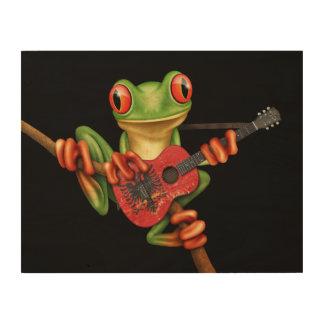 Tree Frog Playing Albanian Flag Guitar Black Wood Print