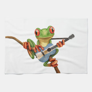Tree Frog Playing Argentinian Flag Guitar White Tea Towel