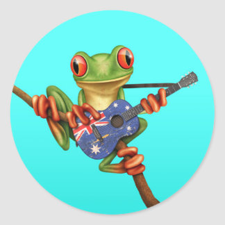 Tree Frog Playing Australian Flag Guitar Blue Round Sticker