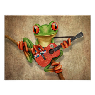 Tree Frog Playing Bermuda Flag Guitar Poster