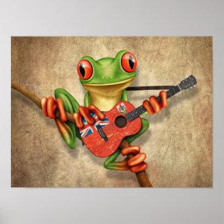 Tree Frog Playing Bermuda Flag Guitar Poster