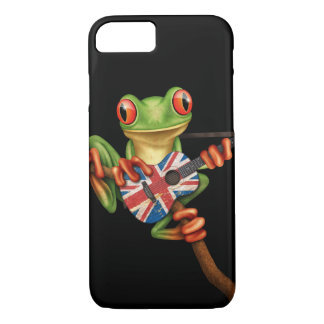 Tree Frog Playing British Flag Guitar Black iPhone 8/7 Case