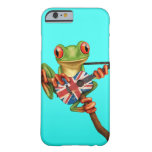 Tree Frog Playing British Flag Guitar Blue Barely There iPhone 6 Case