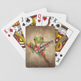 Tree Frog Playing British Flag Guitar Playing Cards