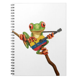 Tree Frog Playing Colombian Flag Guitar White Notebook