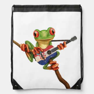 Tree Frog Playing Croatian Flag Guitar White Drawstring Bag