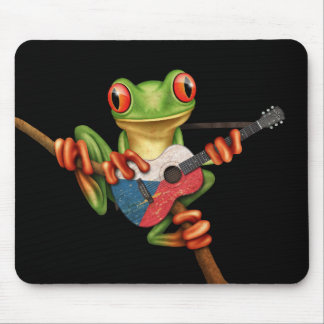Tree Frog Playing Czech Flag Guitar Black Mouse Mat