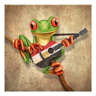 Tree Frog Playing Egyptian Flag Guitar Personalized Announcement