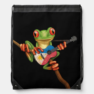 Tree Frog Playing Filipino Flag Guitar Black Drawstring Bag
