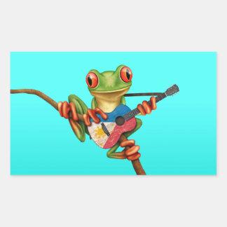 Tree Frog Playing Filipino Flag Guitar Blue Rectangular Sticker