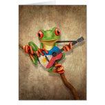 Tree Frog Playing Filipino Flag Guitar Greeting Card