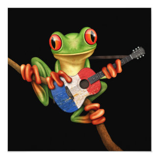 Tree Frog Playing French Flag Guitar Black Card