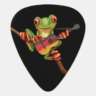 Tree Frog Playing German Flag Guitar Black Guitar Pick
