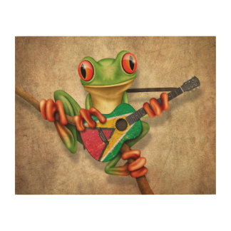 Tree Frog Playing Guyana Flag Guitar Wood Wall Decor