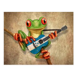 Tree Frog Playing Honduras Flag Guitar Postcard