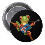 Tree Frog Playing Icelandic Flag Guitar Black Pinback Buttons