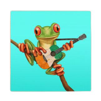 Tree Frog Playing Ivory Coast Flag Guitar Blue Wood Coaster