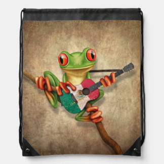 Tree Frog Playing Mexican Flag Guitar Drawstring Bag