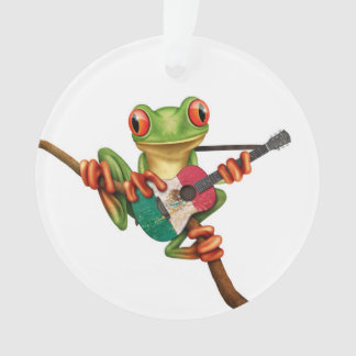 Tree Frog Playing Mexican Flag Guitar White