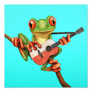 Tree Frog Playing Polish Flag Guitar Blue 13 Cm X 13 Cm Square Invitation Card