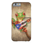 Tree Frog Playing Puerto Rico Flag Guitar Barely There iPhone 6 Case