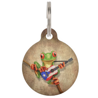 Tree Frog Playing Puerto Rico Flag Guitar Pet ID Tag