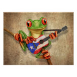 Tree Frog Playing Puerto Rico Flag Guitar Poster