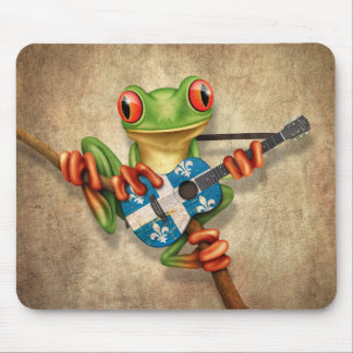 Tree Frog Playing Quebec Flag Guitar Mouse Mat
